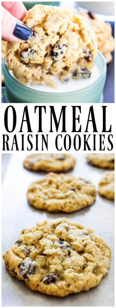 Oatmeal Raisin Cookie being dunked in a mug of milk, Oatmeal Raisin Cookies baked on a sheet pan