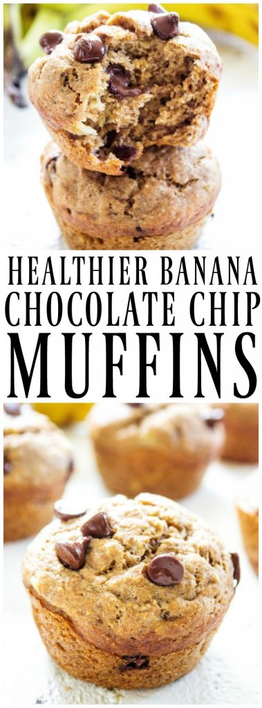 stack of 2 Banana Chocolate Chip Muffins with a bite taken out of 1. Banana Chocolate Chip Muffins on a table