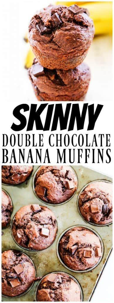 stack of 2 Skinny Double Chocolate Banana Muffins, muffins in a metal pan