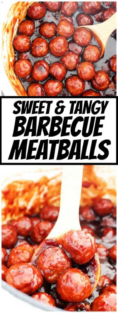 Sweet & Tangy Barbecue Meatballs in a white pot with a wooden spoon