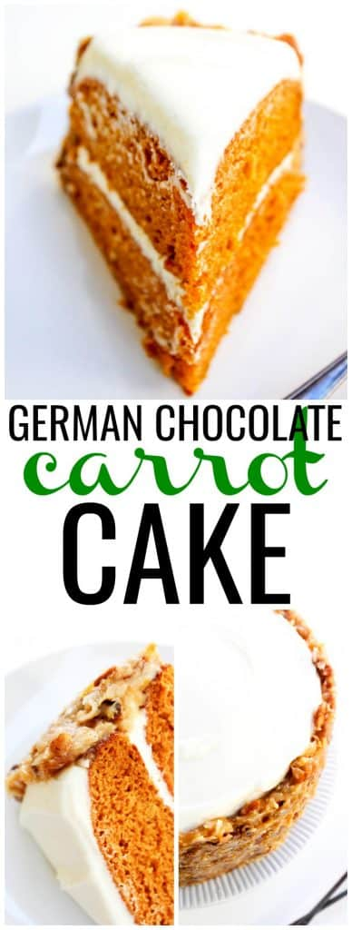 German Chocolate Carrot Cake slice on a plate, German Chocolate Carrot Cake slice on its side, German Chocolate Carrot Cake on a cake stand