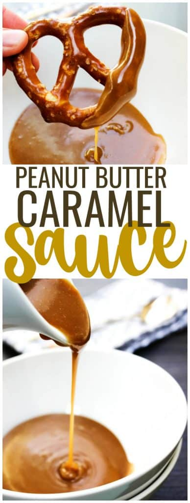 Peanut Butter Caramel Sauce in a bowl with a hard pretzel. Peanut Butter Caramel Sauce being poured into a bowl