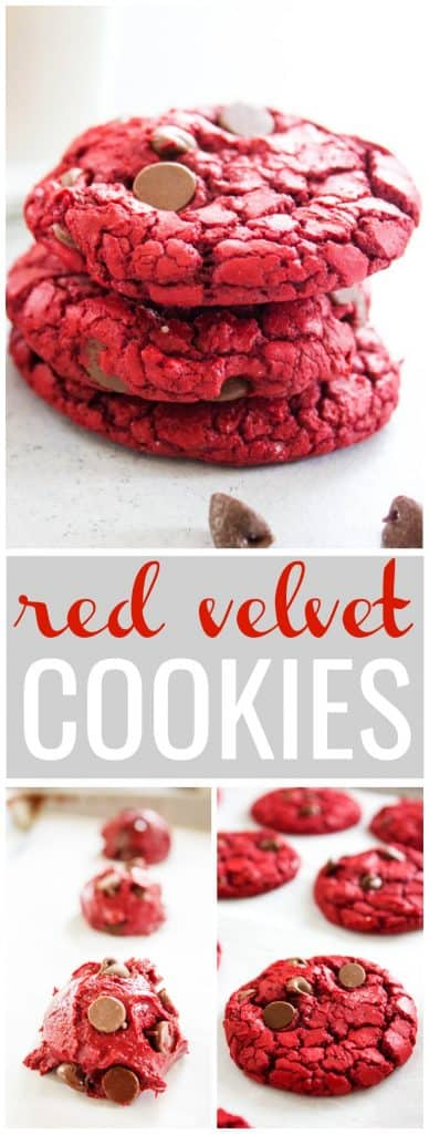 collage of photos of red velvet cookies