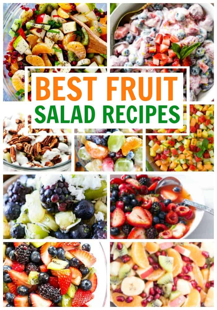 photo collage of salad recipes