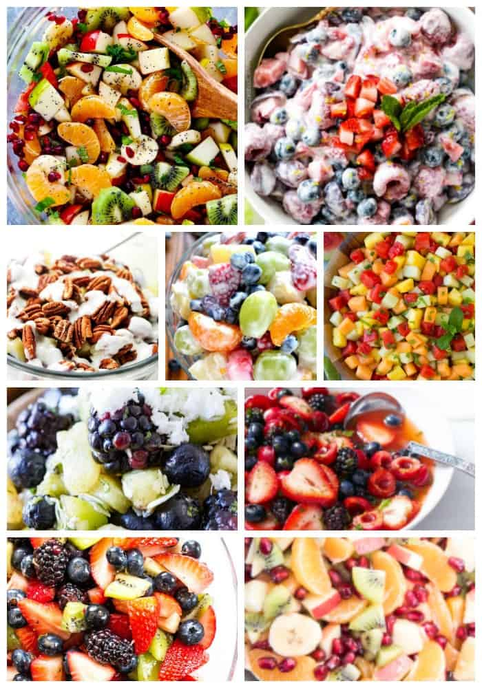 fruit salad, kiwi, oranges, apples berries, strawberries, pecans