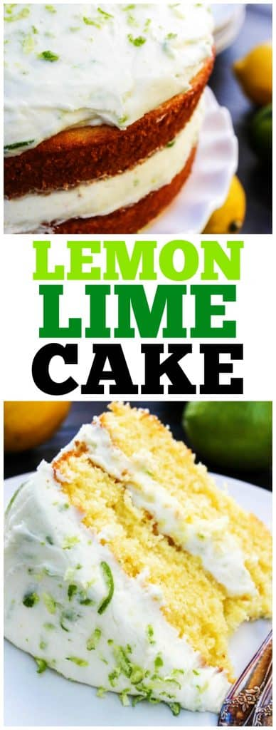 Top photo: Lemon Lime Cake from side on a cake stand, bottom photo: slice of lemon lime cake on a plate