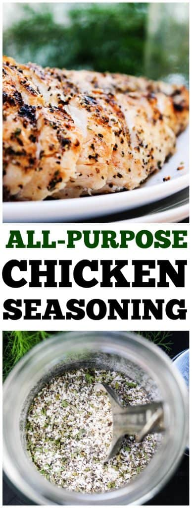 top photo: seasoning on grilled chicken breast on a plate. bottom photo: All-Purpose Chicken Seasoning in a jar