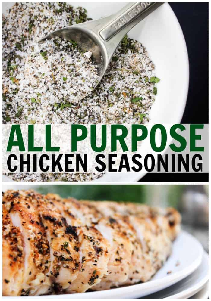 top photo: bowl of All-Purpose Chicken Seasoning. bottom photo: grilled chicken with All-Purpose Chicken Seasoning