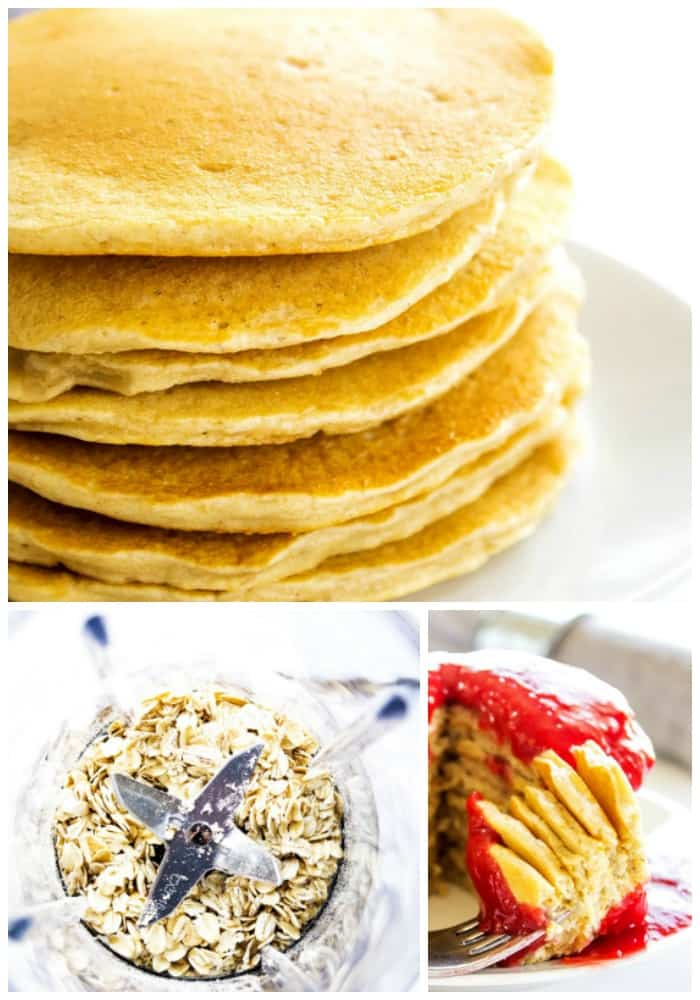 Oatmeal Pancakes in a stack close up, oats in a blender, bite of Oatmeal Pancakes with raspberry sauce on a fork
