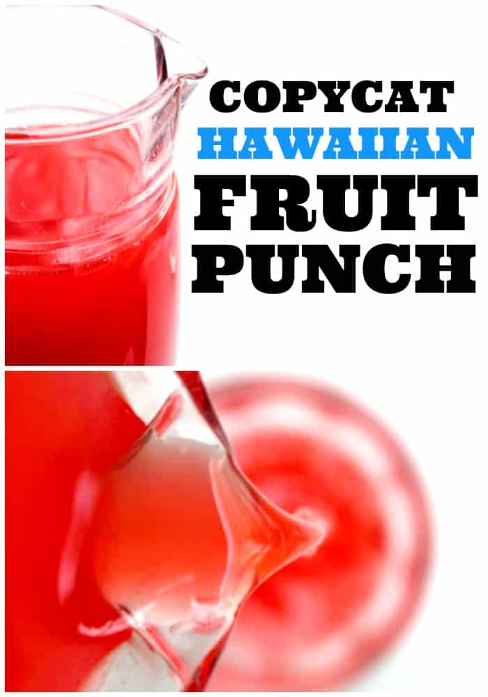 Copycat Hawaiian Fruit Punch in a glass pitcher and being poured into glass cup