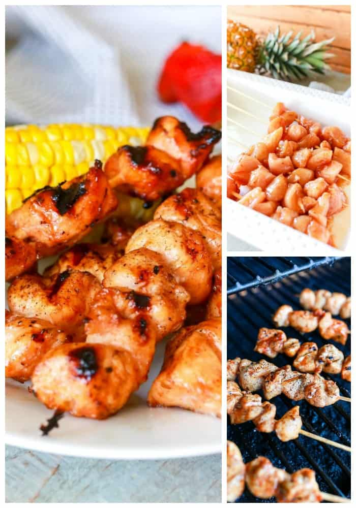 Maple Barbecue Chicken Kabobs on white plate, raw chicken on skewers, and Maple Barbecue Chicken Kabobs on the grill