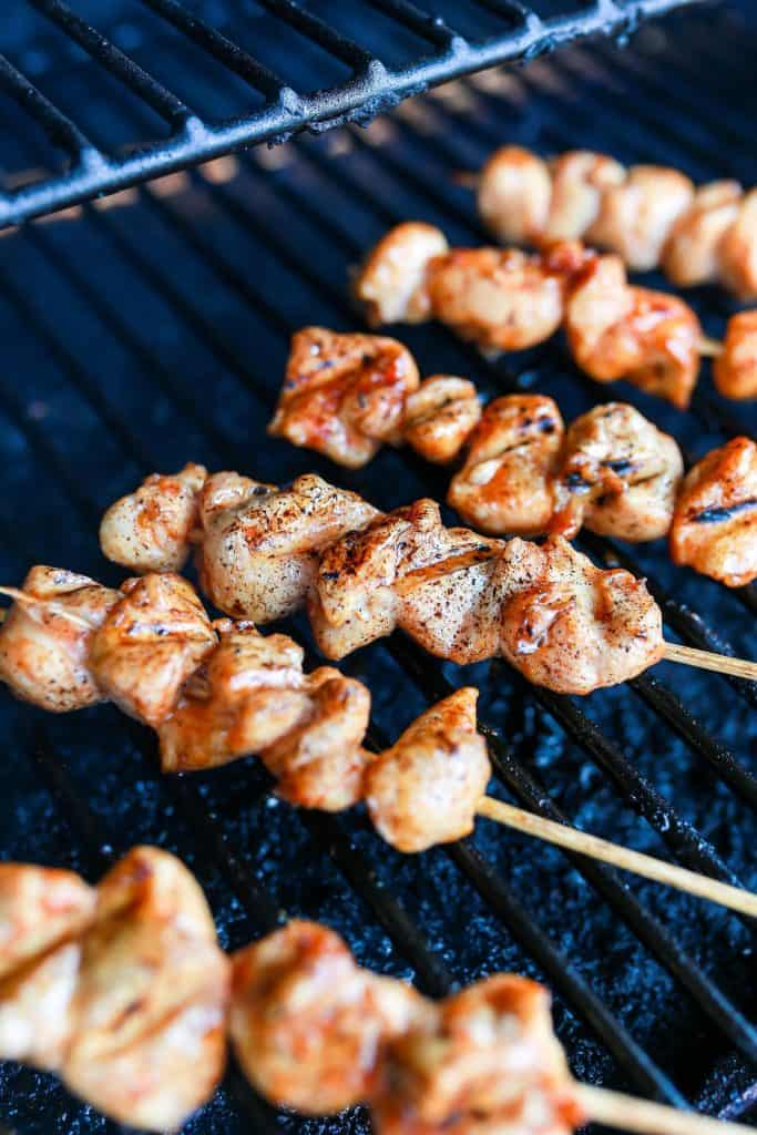 Maple Barbecue Chicken Kabobs on the grill