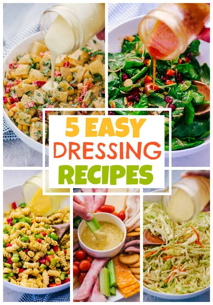 5 easy dressing recipes collage of all 5 dressings in jars/bowls