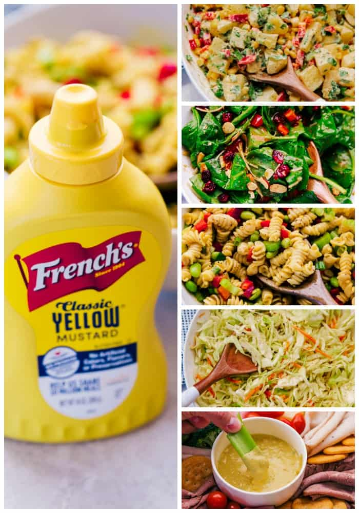 photo of mustard bottle next to photos of each prepared salad and dip