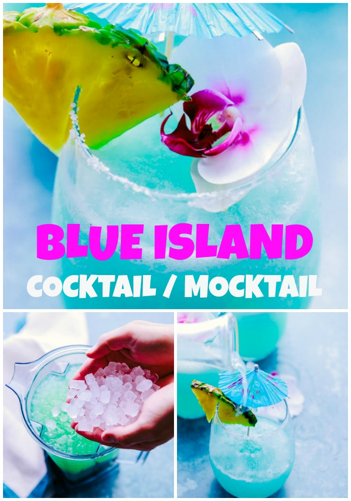 Refreshing & easy this Blue Island Cocktail/Mocktail is made with pineapple juice, limeade, pina colada mixer and lime juice, you can add rum for the adults.