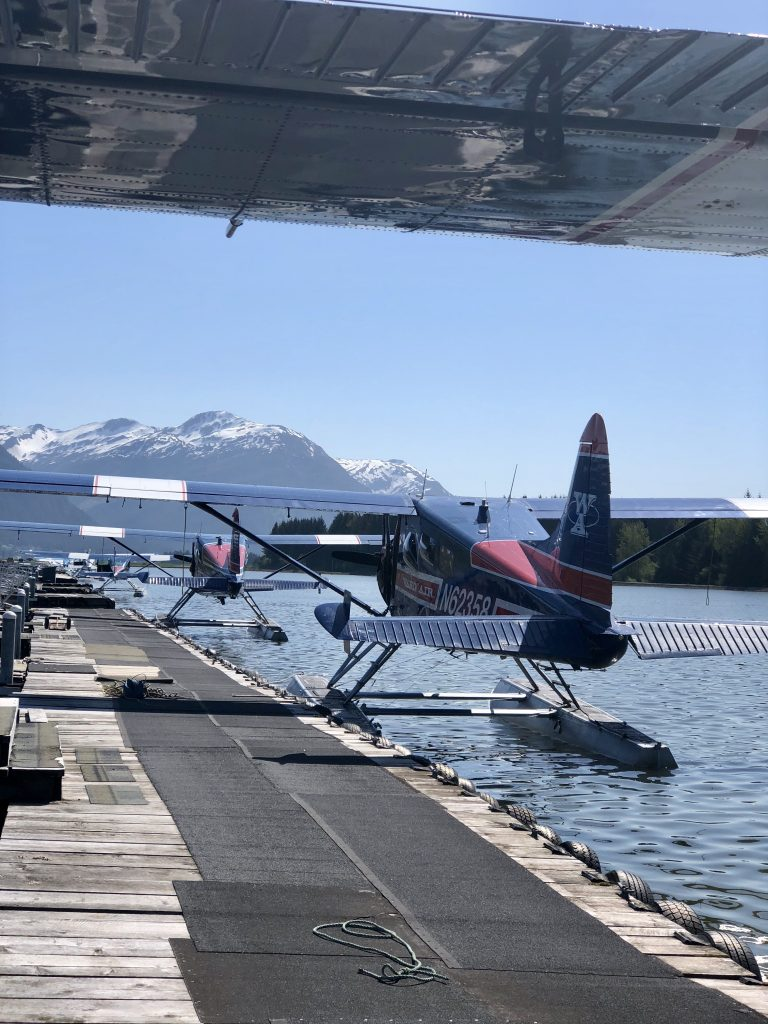 Photo of a seaplane in the water on a dock, with snowy mountains in background