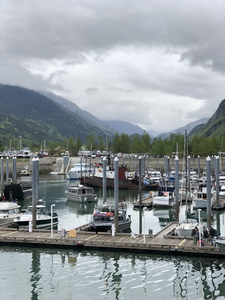 boats in skagway alaska docked by mountains