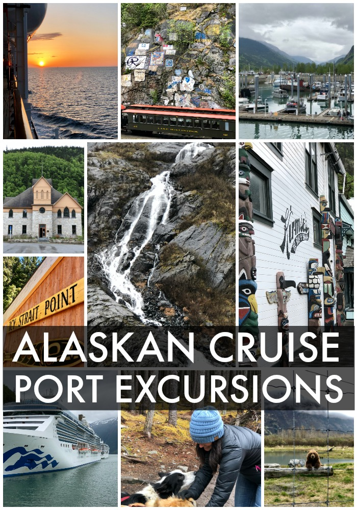 collage of photos from alaskan cruise port excursions