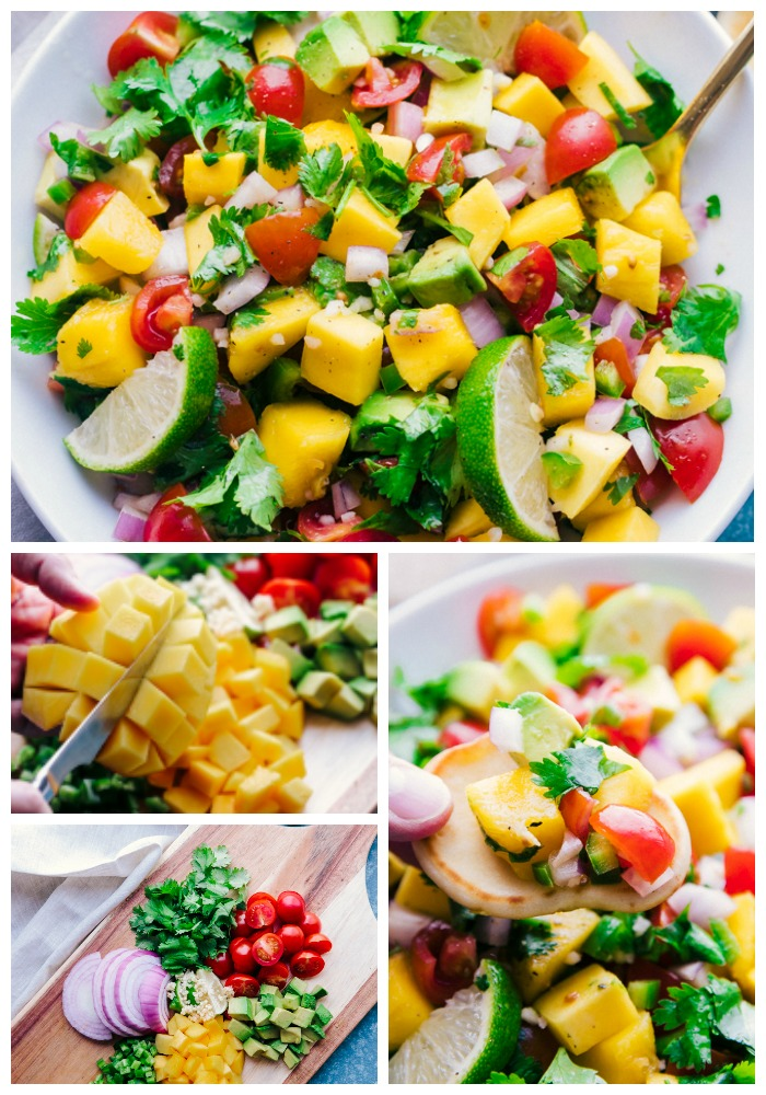 Top Image: top down photo of mango salsa in a bowl, middle image: slicing a mango on wooden cutting board, bottom left image, sliced ingredients for mango salsa next to each other on cutting board, right image: scoop of salsa on a cracker over bowl of mango salsa