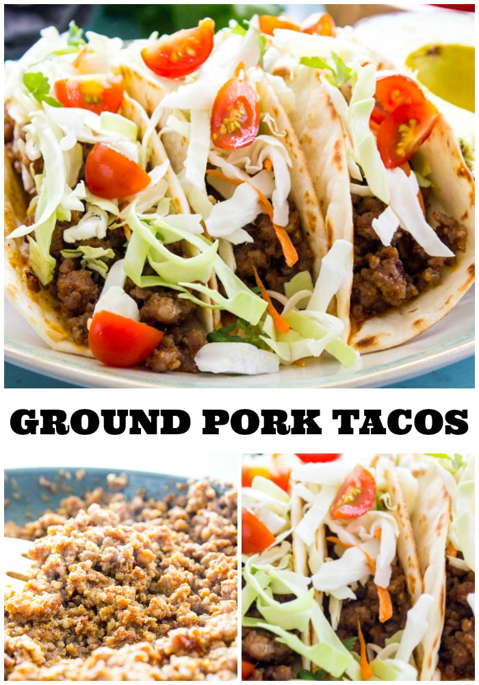 ground pork tacos assembled on a plate