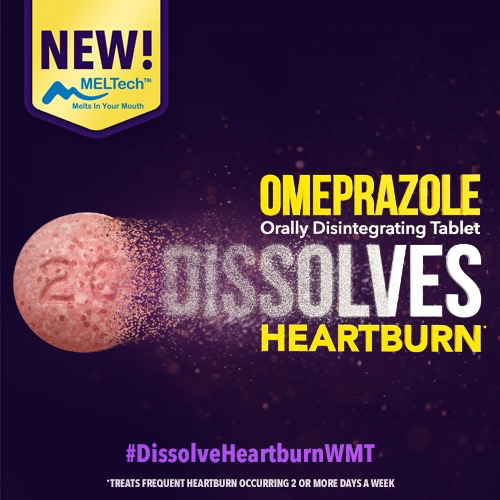 Text: NEW Meltech. Melts in your mouth. Omeprazole orally disintegrating tablet dissolves heartburn: treats frequent heartburn occurring 2 or more days a week