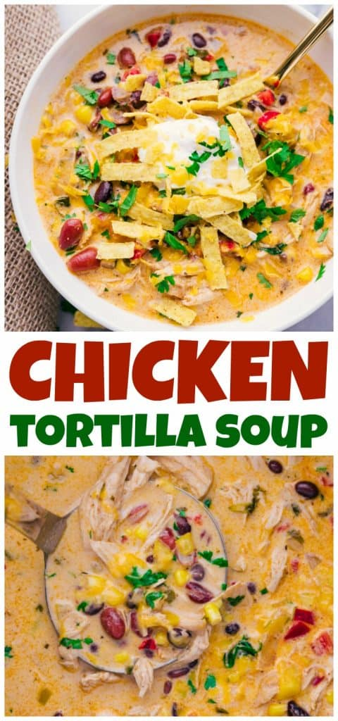 photos of Chicken Tortilla soup in a bowl and slow cooker.