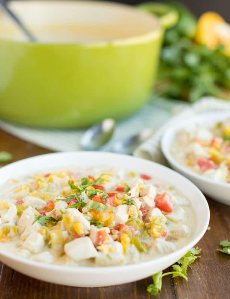 Mexican Corn Chowder served in white bowl