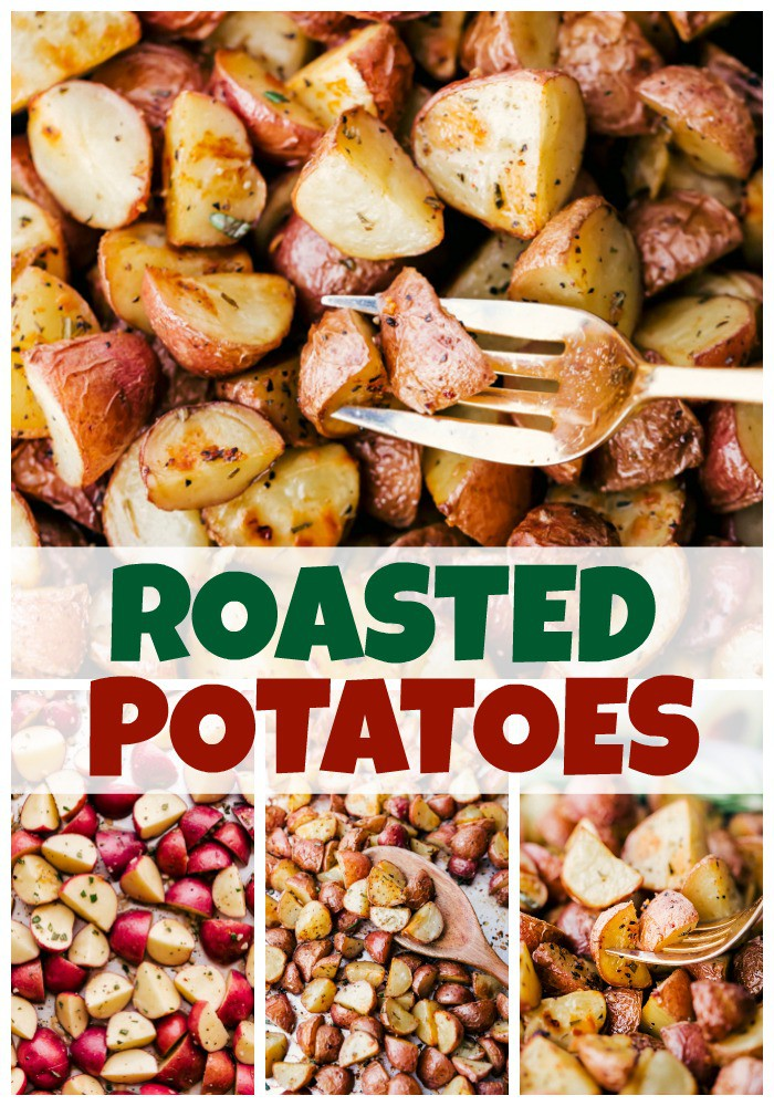 Roasted Potatoes baked in the oven on sheet pan with fork