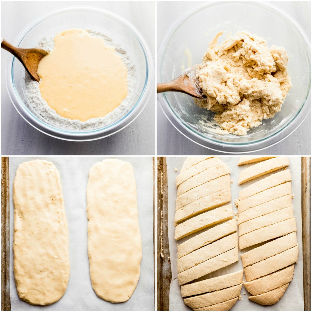 photos showing step-by-step of making biscotti. stirring wet ingredients into flour, forming the loaves, and sliced loaves on sheet pan