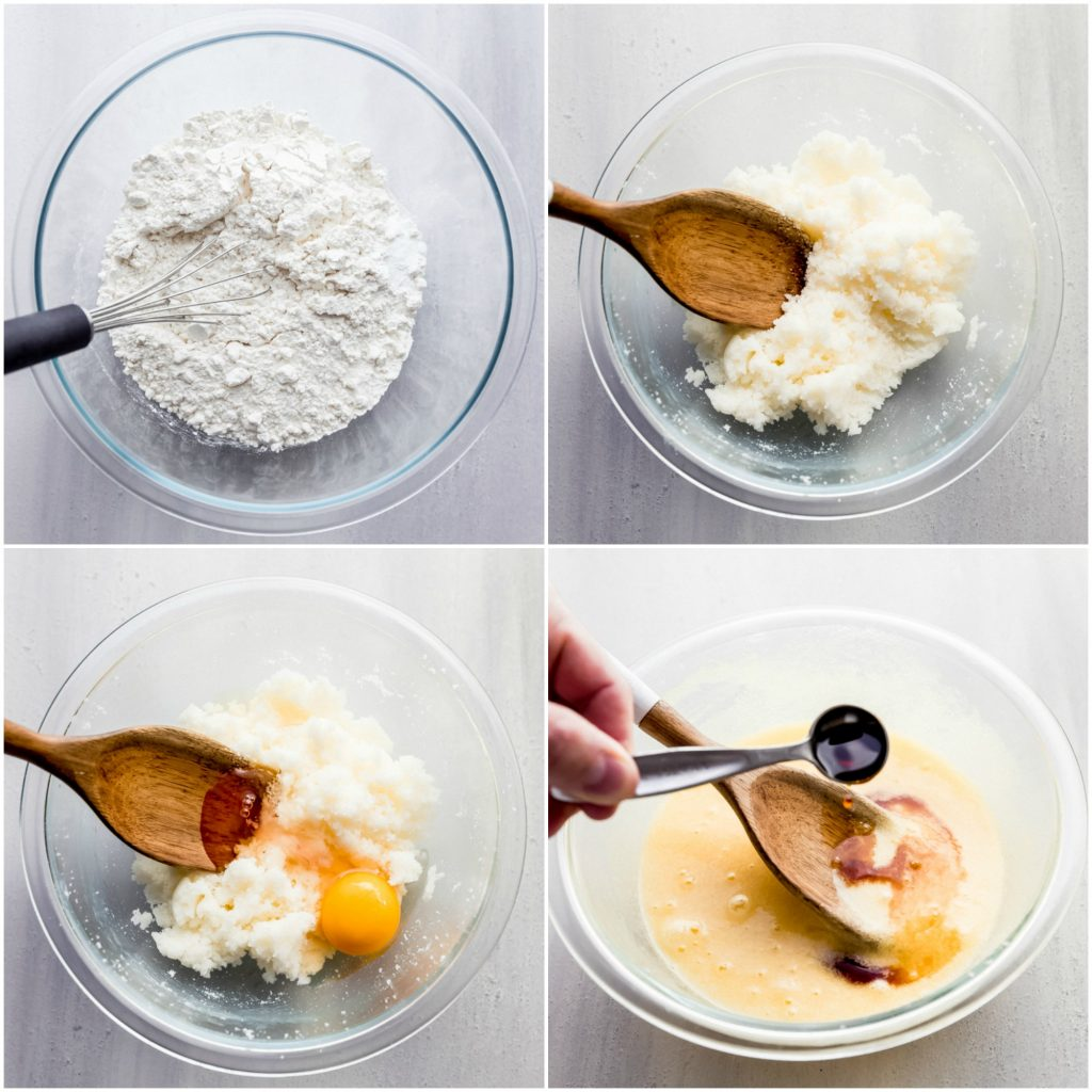 collage of step-by-step photos of stirring biscotti ingredients in a glass bowl