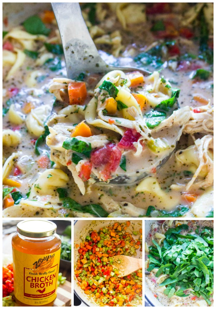 top photo: soup in ladle in a pot. bottom left: jar of chicken broth. bottom middle photo: veggies sauteeing in a pot, bottom right photo: adding fresh spinach into soup