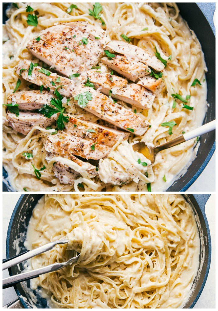 skinny alfredo sauce with grilled chicken and fettuccine noodles in a skillet