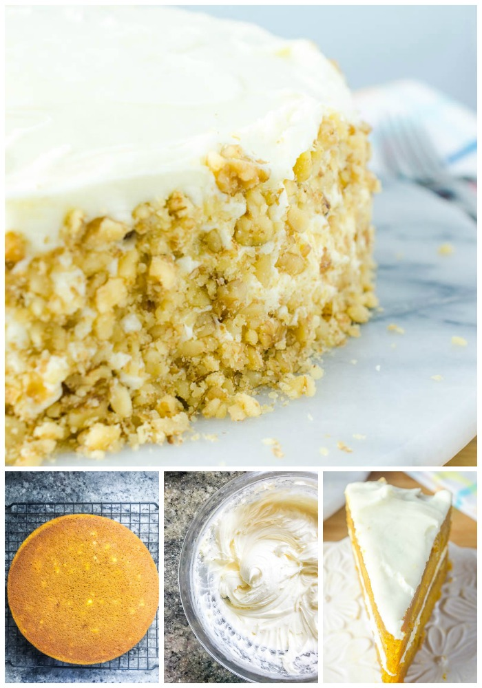 top photo: side view of frosted carrot cake. bottom left: photo of unfrosted layer of carrot cake on a cooling rack. bottom middle: glass bowl with frosting being whipped. bottom right: slice of carrot cake on a plate