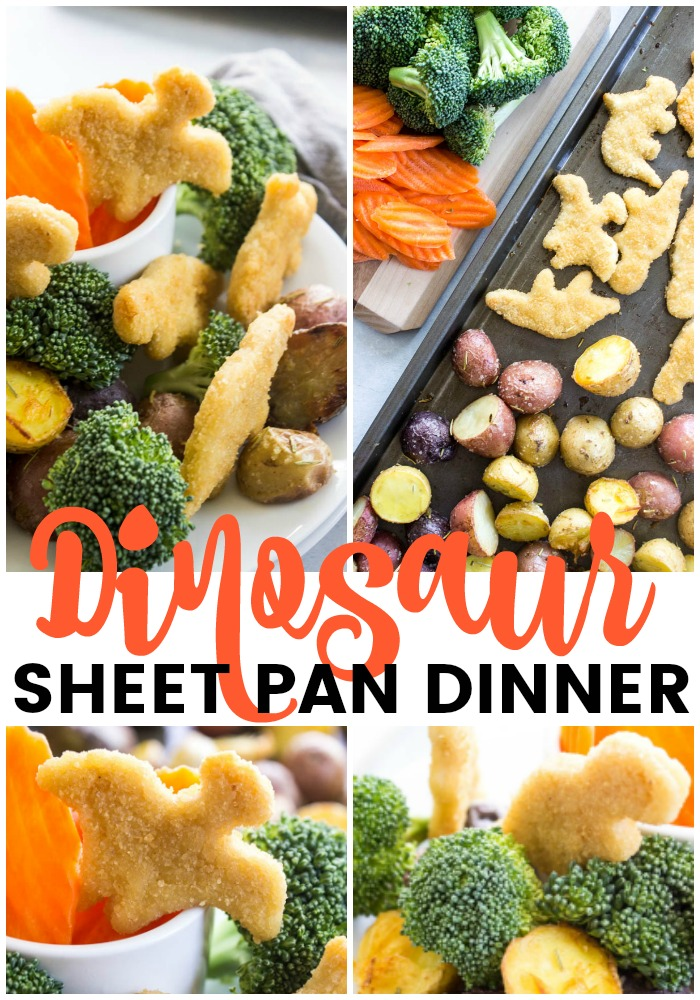 photos of dinosaur sheet pan dinner in a collage