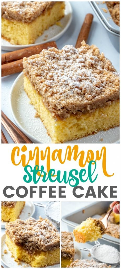 photos of Cinnamon Streusel Coffee Cake on a plate in a collage for pinterest