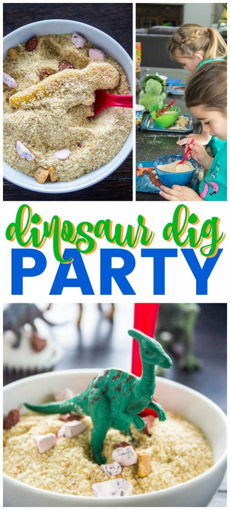 top left photo: dino nugget in a bowl of breadcrumbs. top right photo: girls playing in dino dig bowls. bottom photo: plastic dino toy on top of dino dig bowl