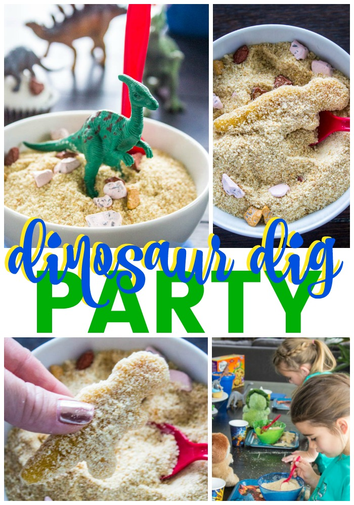 collage of dinosaur dig party photos