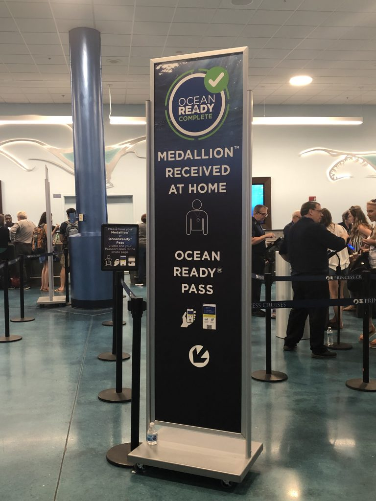 photo of ocean medallion queue to get on cruise ship