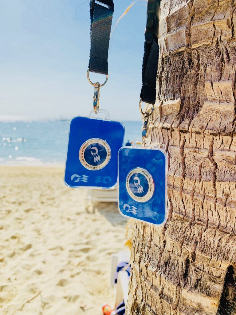 photo of ocean medallions on lanyards hanging by a palm tree on the beach
