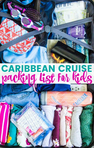 Caribbean Cruise Packing List For Kids with photos of packed suitcase
