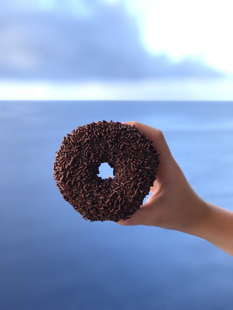 photo of a chocolate donut with chocolate sprinkles being held up, with ocean in background