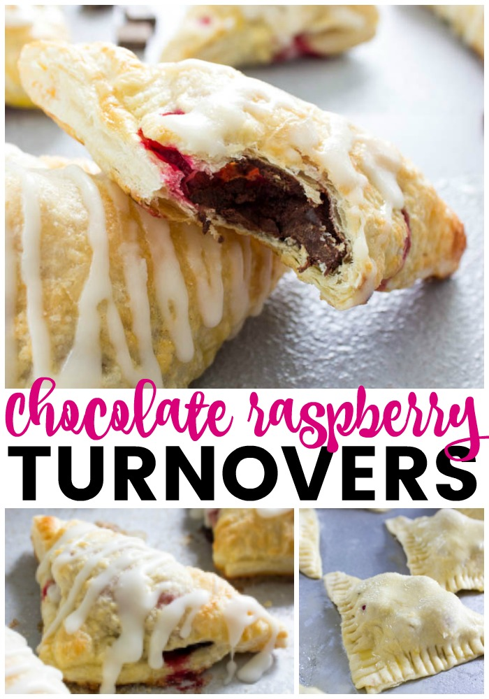 collage of Chocolate Raspberry Turnovers photos for pinterest