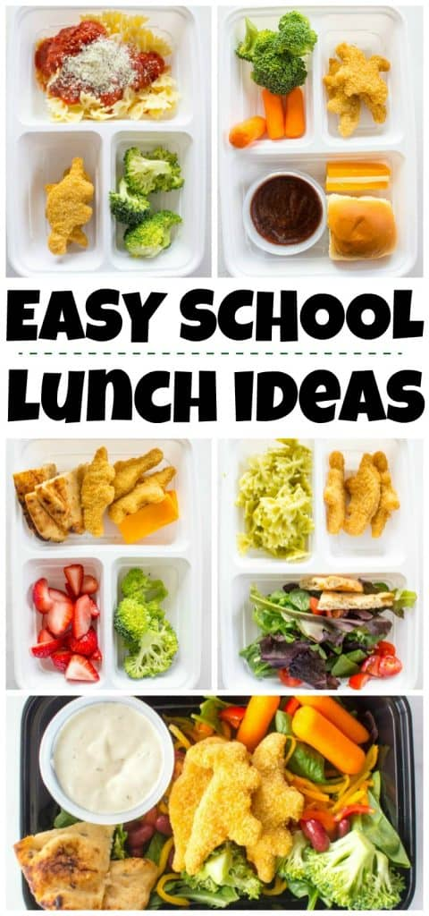 collage of prepared lunch box ideas