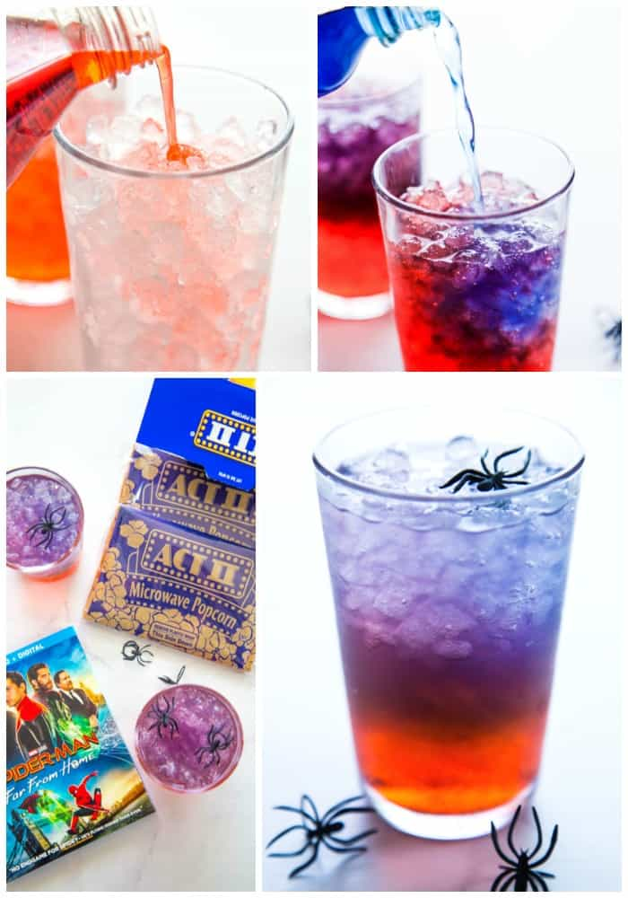 collage: top left, pouring red fanta into a glass with ice. top right: pouring blue gatorade into fanta. bottom left: overhead photo of glasses of punch, spiderman dvd box, and popcorn bags. bottom right: glass of punch with spider rings around it