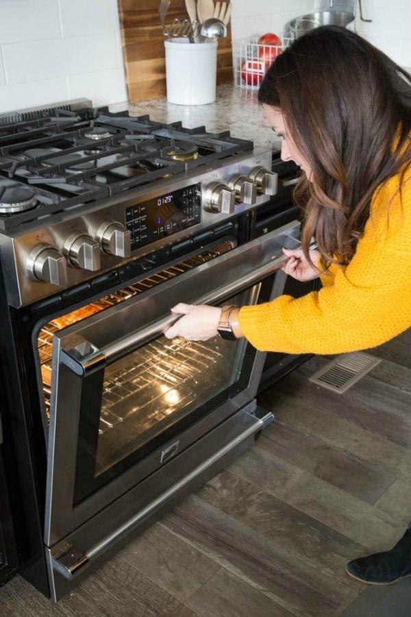 photo of sandra checking on pie inside beko oven