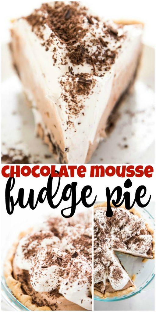 collage of photos of Chocolate Mousse Fudge Pie