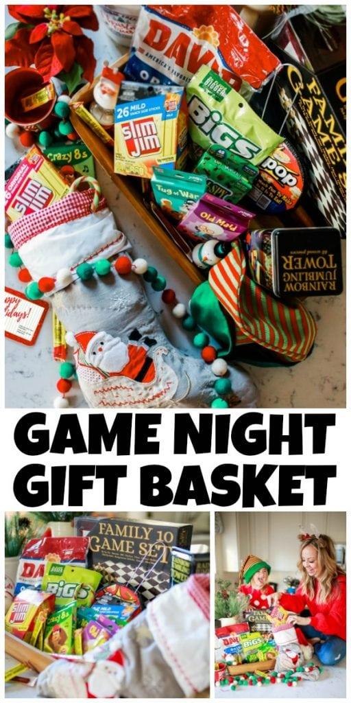 collage of photos of Game Night Gift Basket