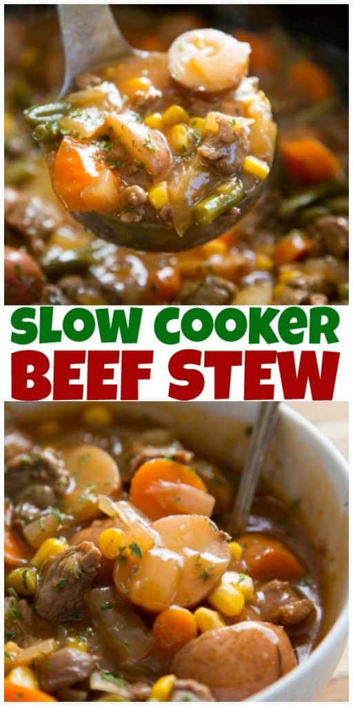 beef stew recipe serving bowl and ladle collage image with title