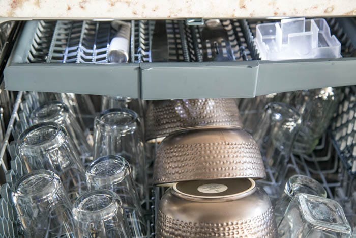 photo of top drawer in beko dishwasher