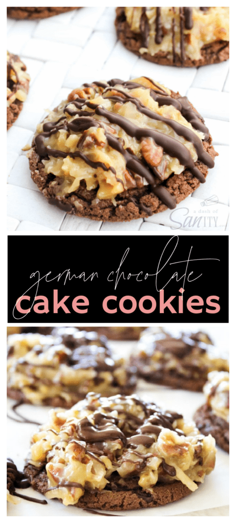 two images of german chocolate cake cookies completely finished both with classic pecan frosting with chocolate drizzle on top